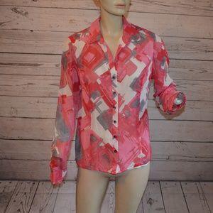 Jones New York 100% Silk Pink Button Up 12